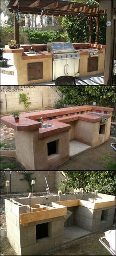 Outdoor cinder block kitchen