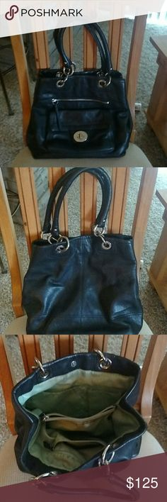 """Coach Large Purse With Plenty Of Compartments! Coach Leather Black Purse With Mint Satin Lining! Front Buckle Pocket. Front Zipper Pocket. 2 Inner Zip Pockets. 2 Compartments. 2 Side Slip Pockets. Pre-Loved. Outside Is In Excellent Condition, Inside Needs A Cleaning. Otherwise In Good Condition. Very Heavy Duty! Has Only Hand Straps, No Cross Body Strap Came With This Purse. Plenty Of Room For All Your Belongings Plus More!! 12 1/2""""(L) X 12 1/2"""" (H) X 6 1/2"""" Strap Drop. Excellent Purse With…"""