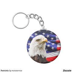 Patriotic Basic Round Button Keychain #Eagle #BaldEagle #Bird #Flag #Holiday #Fashion #USA #Patriotic #Keychain #Keys