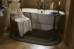 Shop for all sizes of oval and rectangle braided rugs for your primitive country home at Primitive Star Quilt Shop. Choose from various multi-colored and solid color rugs to find a style that suits your home decor. Small Country Bathrooms, Primitive Country Bathrooms, Primitive Bathroom Decor, Country Primitive, Primitive Decor, Primitive Bedding, Country Baths, Farmhouse Bathrooms, Vintage Bathrooms