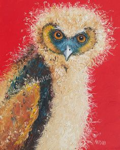 Owl painting animal art nursery paintings owl art by JanMatsonArt, $125.00