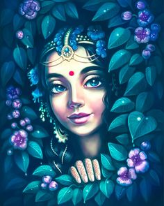 Radha watching her eternal lover Krishna by kliana_art Krishna Drawing, Krishna Painting, Krishna Art, Hare Krishna, Girl Drawing Sketches, Cute Drawings, Oil Pastel Art, Ganesha Art, Radha Rani