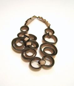 ZIPPER NECKLACE  Nude Beige Circles by catrinel777 on Etsy