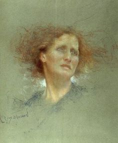 "Lucien Lévy-Dhurmer (French 1865 - 1953), ""Portrait of a Woman"", Pastel on Paper. (Enlarge)"