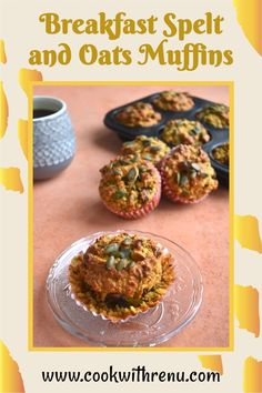 Breakfast Spelt and Oats Muffins are delicious and perfect morning breakfast or a filling snack for your kid. These muffins are butterless with a hint of lemon. They are a delicious lunchbox treat or best as a travel snack. Vegetarian Eggs, Best Vegetarian Recipes, Meat Recipes, Easter Recipes, Brunch Recipes, Breakfast Recipes, Morning Breakfast, Breakfast Club, Filling Snacks