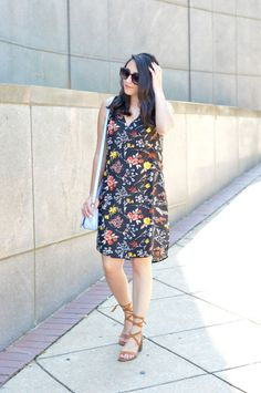Old Nav Floral Print dress, perwinle crossbody bag, and target lace up shoes
