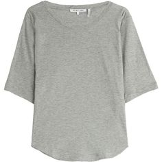 Helmut Lang Cotton-Cashmere T-Shirt (7,295 PHP) ❤ liked on Polyvore featuring tops, t-shirts, grey, drapey tee, curved hem t shirt, gray t shirt, cashmere t shirt and cotton tee