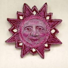 Pink Cherub Face Clay Sun Star Garden Art Pink by annarobertsart