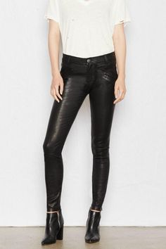 A skinny leather pant from Current/Elliott that features front welt pockets back pockets and a zip fly front button closure. The luxe leather makes these pants a super comfortable closet staple.  Welt-Pocket Leather Skinnies by Current Elliott. Clothing - Bottoms - Pants & Leggings - Leather Clothing - Bottoms - Pants & Leggings - Skinny Canada