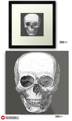 'Vintage Skull' Framed, Metallic, Photographic and Canvas print #artbyurte