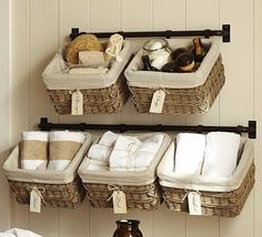 Baskets behind toilet