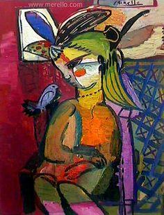 """Painting from 1998-2000 Jose Manuel Merello.- """"La niña del gorrión"""" // """"Girl with sparrow"""" (73x54 cm) Oil on Canvas. (1998-2000) Artistes Espagnols Contemporains. Peinture Espagnole. http://www.merello.com"""