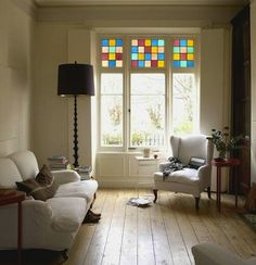 Faux Stained Glass-If a custom-made piece of stained glass is not in your budget, you can fake it for less. Options in prefabricated or customizable window film can deceive even the sharpest eye.