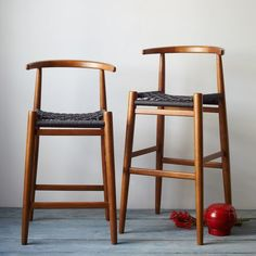 Breathtaking Wooden Counter Stool With Wicker Rope Stool Seats Also Varnished Wood Stool Back from Kitchen Design - Ideas and Picture