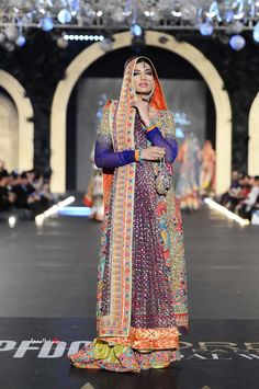 Colorful lengha by Nomi Ansari at PFDC Bridal Fashion Week 2013