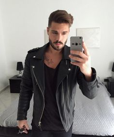 @stefanotratto perfectly styling his Oil Black Kay Michaels #leather #jacket #black #style #fashion