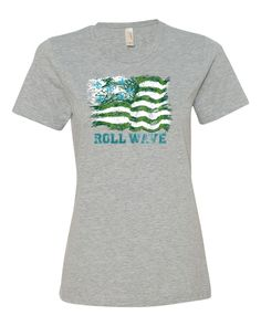 Olive and Blue Flag - Ladies Tee  - Heather Grey