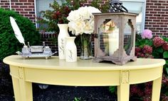 Yellow Console Table painted with Sherwin Williams White Raisin by www.simplymadebyrebecca.wordpress.com Sherwin Williams White, Table And Chairs, Raisin, Console Table, Painted Furniture, Wordpress, New Homes, Dining Room, Yellow