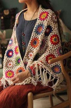 Woman cashmere handmade knitting crochet Provence daisy