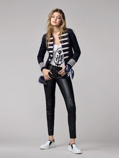 Tommy Hilfiger GIGI HADID - Leather trousers - black for with free delivery at Zalando Gigi Hadid Tommy Hilfiger, Style Gigi Hadid, Latest Fashion News, Looks Style, My Style, Leather Trousers, Leather Leggings, Look Chic, Military Fashion