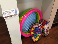 """Baby ball pit.  So fun for first birthday party.  Also hid plastic insects for older kids to use for a game (blindfolded search).  Fit into our """"Very Hungry Caterpillar"""" theme quite nicely."""