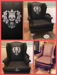 Gothic Glam chair.. Chair was painted with General Finishes Lamp Black Paint. Stencil detail and legs were done with General Finishes Argentine Pearl effects!