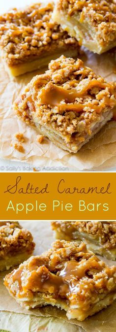 Salted Caramel Apple Pie Bars are so much easier than making an entire pie!! (Fall, Holiday, baking, apple dessert recipes) /sallybakeblog/