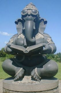 It's part of the the Ganesh (Vinayaka) sculptures in black granite ranging in size from 5 ft 6 inches to 9 ft and weighing between 2 and 5 tonnes,exhibited at Victoria's Way, Roundwood, Country Wicklow, Ireland. Victoria's Way is the largest and the most magnificent sculpture park. They were designed by DV Murugan and carved by one of India's remarkable sculptors T Bhaskar in Mahabalipuram, Tamil Nadu, India.