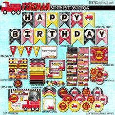 FIREMAN PARTY PRINTABLE COLLECTION #Fireman #FiremanParty #BirthdayParty