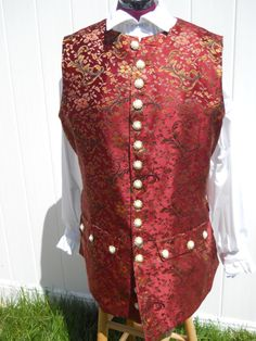 Men's Colonial Pirate Waistcoat Vest Costume Maroon Red Brocade Size X-Large READY TO SHIP! Park Model Homes, Santa Costume, Santa Suits, Father Christmas, Costumes, Costume Ideas, Pirates, Larp, Formal Dresses