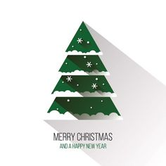Flat Christmas Tree Vector Graphic — happy holidays, long shadow, new year, minimal, modern, white, merry, card, snow