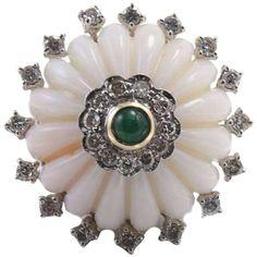 Coral Diamond Emerald Ring
