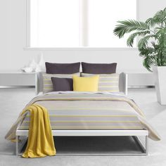 Yellow Bedding - Bring bright color and style in to your bedroom with gray and yellow comforter sets, bedspreads, quilts and duvet covers.