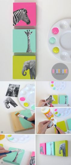 Diy projects for kids - DIY Painted Wood Block Nursery Art – Diy projects for kids Kids Crafts, Diy And Crafts, Arts And Crafts, Cute Diy Crafts For Your Room, Diys For Your Room, Room Crafts, Nifty Crafts, Craft Rooms, Decor Crafts