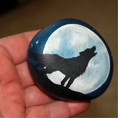 Wolf Hand painted Wolf rock Painted Rocks by PetRocksbyTheresa