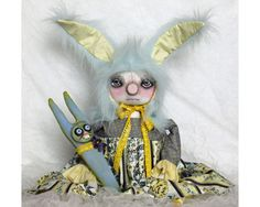 Your place to buy and sell all things handmade Bunny Toys, Bunnies, Hollow Art, Pink Cheeks, Primitive Folk Art, How To Make Buttons, Cute Faces, Canvas Fabric, Easter Bunny