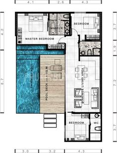 design plans Tropical modern villa with 3 bedrooms - Phuket Buy House: Tropische moderne Villa mit 3 Schlafzimmern - Phuket Kaufen Haus: furniture layout small Pool House Plans, Modern House Plans, Modern House Design, Modern Houses, L Shaped House Plans, Modern Floor Plans, Courtyard House Plans, Small House Design, Cottage Design