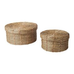 IKEA - VIKTIGT, Basket with lid, set of 2, Each basket is woven by hand and is therefore unique.Suitable for storing small items like jewelry, scarves or other accessories.