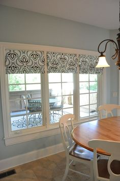 No sew roman shades - kitchen, dining room... you could use whatever fabric you wanted and do this on your windows in the sun room. Inexpensive and brilliant!
