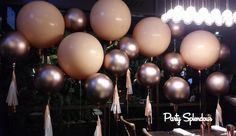 Rose Gold Floating Balloon Wall by Party Splendour in Sydney.
