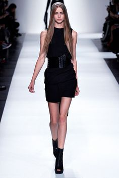 Ann Demeulemeester RTW Spring 2013-The LBD is always a must! If you've got sturdy thighs, don't be afraid to rock a mini, just add tights or sheer black stocking to stream line them. A small shoulder back in neon with equally outrageous pumps adds a fun feeling to the look.