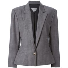 Versus Vintage Fitted Blazer ($373) ❤ liked on Polyvore featuring outerwear, jackets, blazers, grey, long sleeve jacket, fitted jacket, vintage blazer, gray jacket and grey blazer