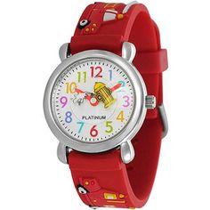 Geneva Platinum Boy's Fire Truck Design Watch, Silicone Strap