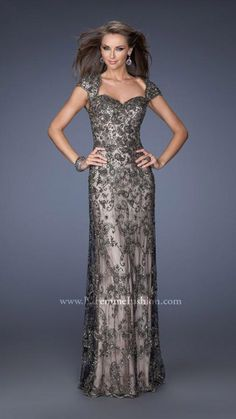 La Femme Evening 19274 Beaded Lace Gown