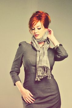 Christina Hendricks - inspiration for just put your curves in a grey shift, scarf and mussy hair