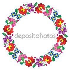Вышивка Kalocsai в круг - венгерские народные цветочный узор — стоковая иллюстрация #67236937