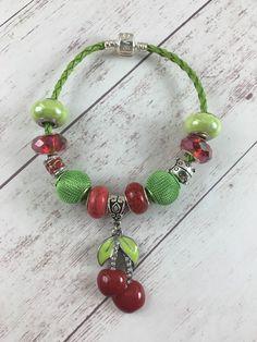 Cherry charm Bracelet, Charm Bracelet, European Bracelet, Leather Cord, Spring, Summer, Spring Themed Bracelet, Gift, Cherries charm