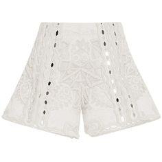Jonathan Simkhai     Mirror Cotton Slit Shorts (214,445 PHP) via Polyvore featuring shorts, jonathan simkhai, white, mid rise shorts, white shorts, beaded shorts and embellished shorts
