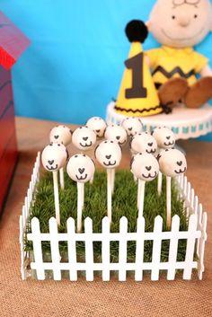 Snoopy Cake Pops from a Peanuts + Charlie Brown Birthday Party via Kara's Party Ideas   KarasPartyIdeas.com (9)