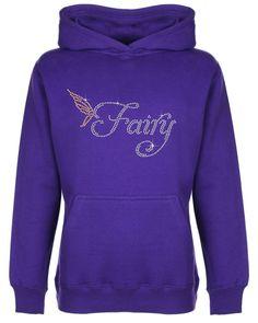Fairy with wings Rhinestone embellished Kid's Hoodie Sweat Shirt Gift for Girls #GuildenFDMFruitOfTheLoomorequivalent #Hoodie